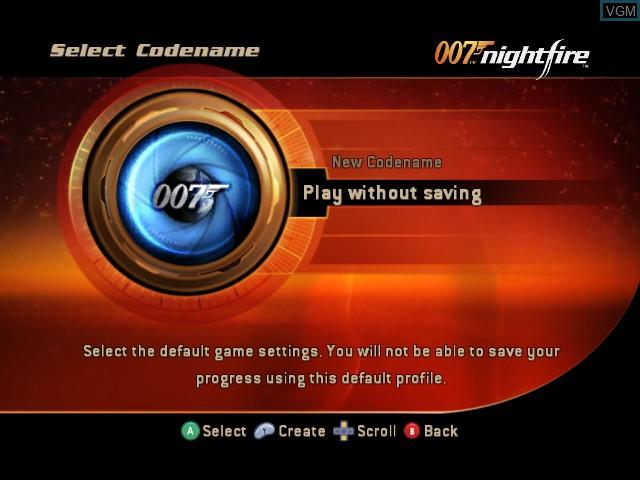 Menu screen of the game 007 - Nightfire on Nintendo GameCube