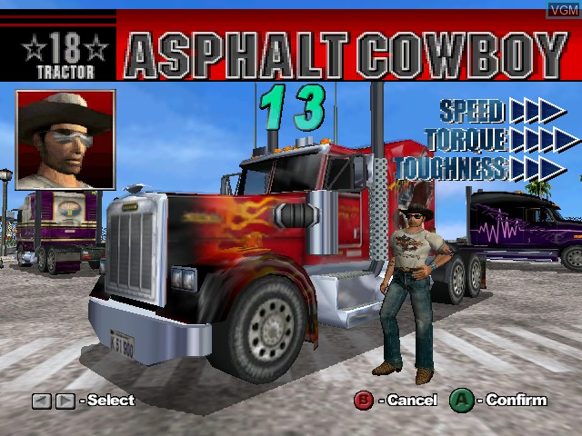 Menu screen of the game 18 Wheeler - American Pro Trucker on Nintendo GameCube