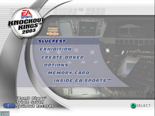 Menu screen of the game Knockout Kings 2003 on Nintendo GameCube