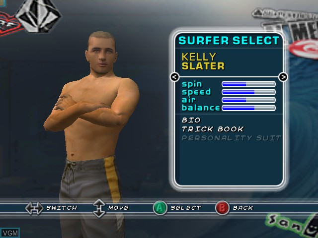 Menu screen of the game Kelly Slater's Pro Surfer on Nintendo GameCube