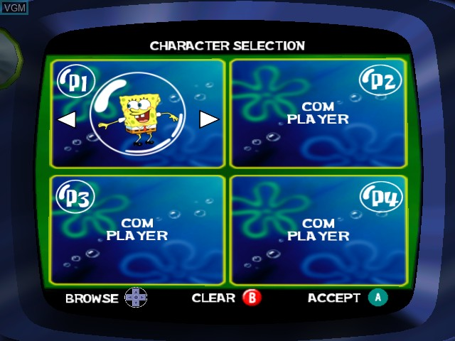 Menu screen of the game SpongeBob SquarePants - Lights, Camera, Pants! on Nintendo GameCube