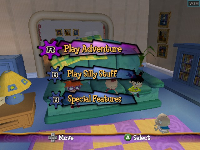 Menu screen of the game Rugrats - Royal Ransom on Nintendo GameCube