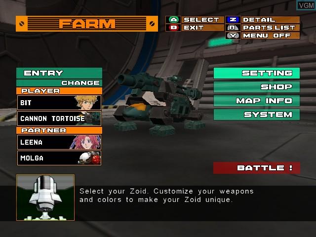 Menu screen of the game Zoids - Battle Legends on Nintendo GameCube