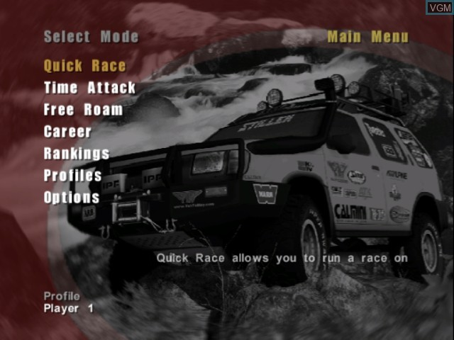 Menu screen of the game 4x4 Evo 2 on Nintendo GameCube