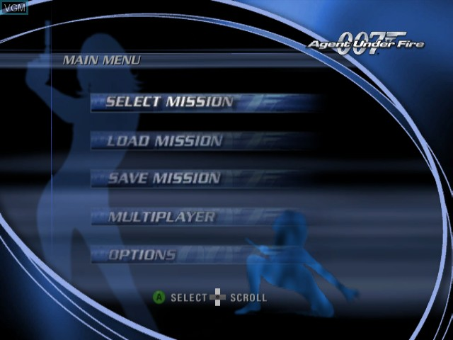 Menu screen of the game 007 - Agent Under Fire on Nintendo GameCube