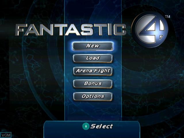 Menu screen of the game Fantastic 4 on Nintendo GameCube