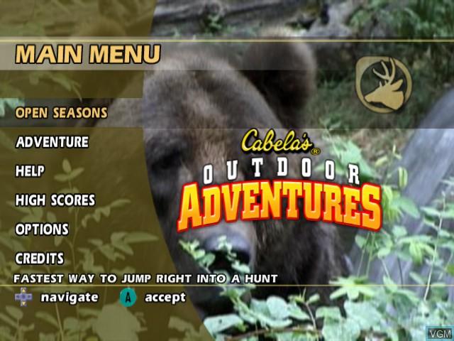 Menu screen of the game Cabela's Outdoor Adventures on Nintendo GameCube