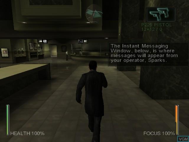 Menu screen of the game Enter the Matrix on Nintendo GameCube