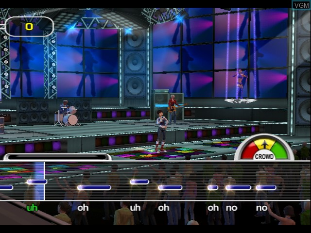 In-game screen of the game Karaoke Revolution Party on Nintendo GameCube