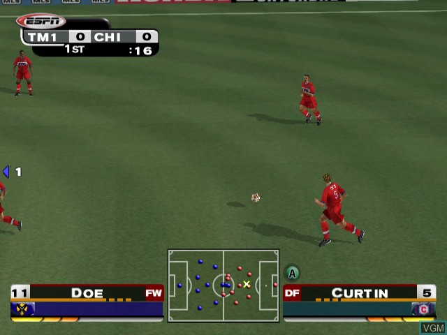 In-game screen of the game ESPN MLS ExtraTime 2002 on Nintendo GameCube
