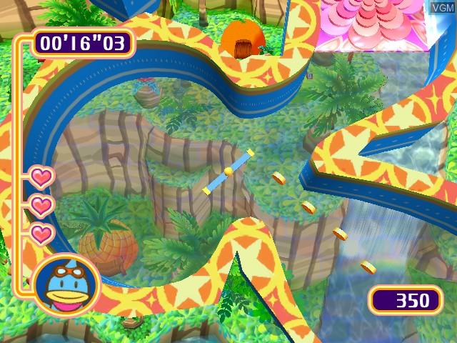 In-game screen of the game Kururin Squash! on Nintendo GameCube