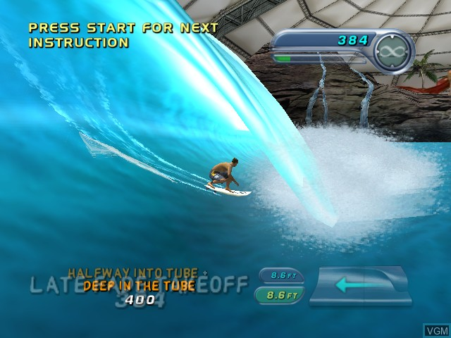 In-game screen of the game Kelly Slater's Pro Surfer on Nintendo GameCube