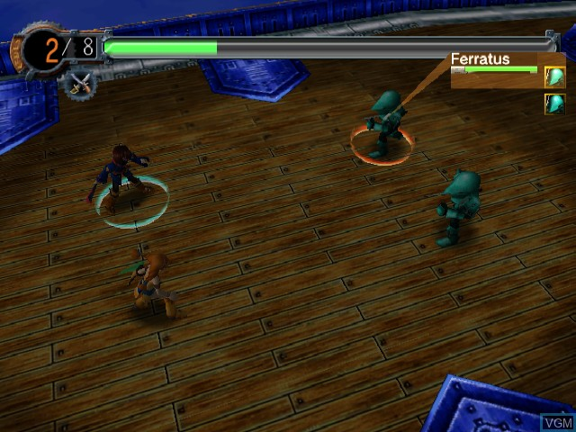In-game screen of the game Skies of Arcadia Legends on Nintendo GameCube