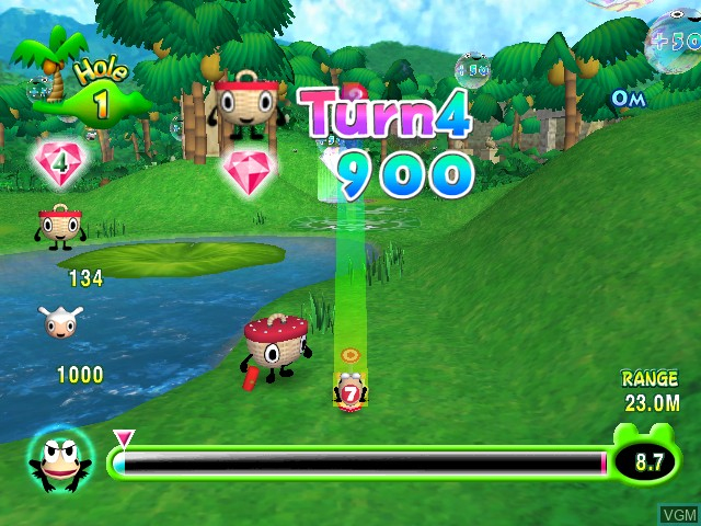 In-game screen of the game Ribbit King on Nintendo GameCube