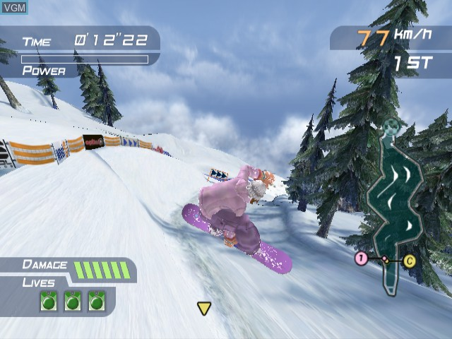 In-game screen of the game 1080 Silver Storm on Nintendo GameCube