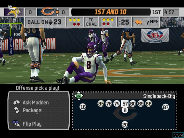 In-game screen of the game Madden NFL 07 on Nintendo GameCube