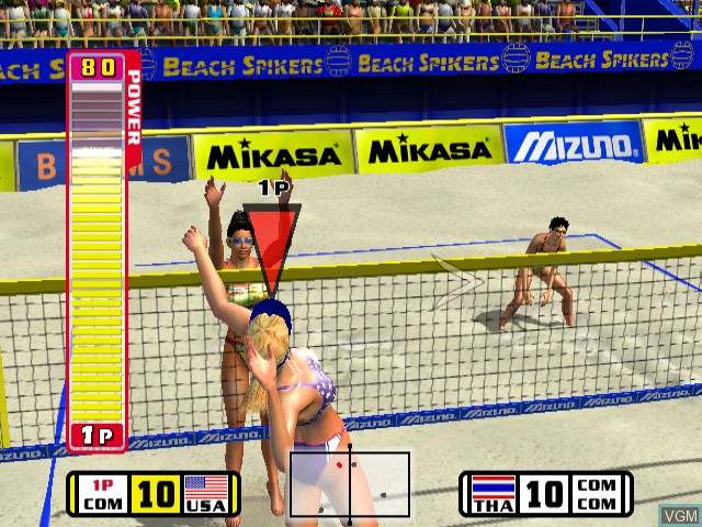 In-game screen of the game Beach Spikers - Virtua Beach Volleyball on Nintendo GameCube
