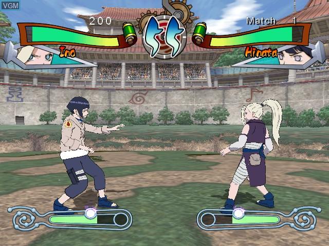 In-game screen of the game Naruto - Clash of Ninja 2 on Nintendo GameCube