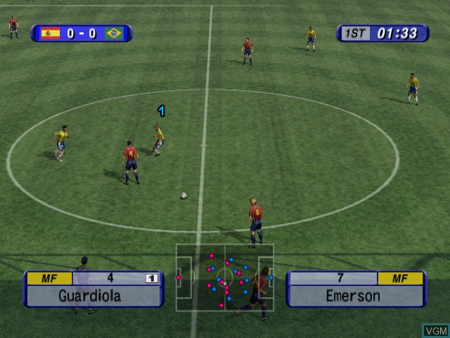 In-game screen of the game International Superstar Soccer 2 on Nintendo GameCube