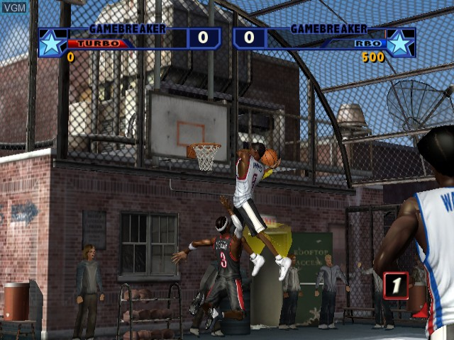In-game screen of the game NBA Street Vol. 2 on Nintendo GameCube