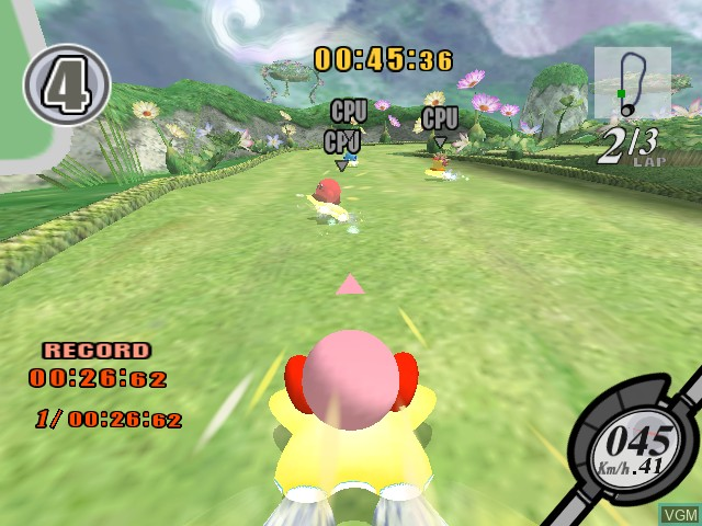 In-game screen of the game Kirby Air Ride on Nintendo GameCube