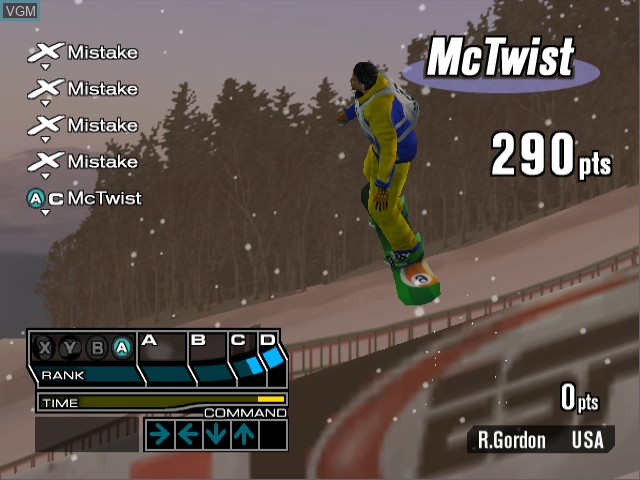 In-game screen of the game ESPN International Winter Sports 2002 on Nintendo GameCube