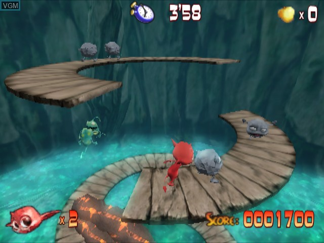 In-game screen of the game Cocoto Platform Jumper on Nintendo GameCube