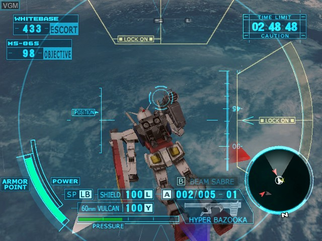 In-game screen of the game Kidou Senshi Gundam - Senshitachi no Kiseki on Nintendo GameCube