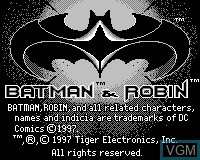 Title screen of the game Batman & Robin on Tiger Game.com