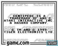 Title screen of the game Centipede on Tiger Game.com