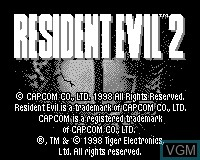 Title screen of the game Resident Evil 2 on Tiger Game.com