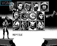 Menu screen of the game Mortal Kombat Trilogy on Tiger Game.com