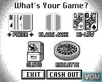 Menu screen of the game Tiger Casino on Tiger Game.com