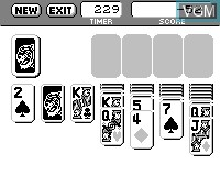 In-game screen of the game Solitaire on Tiger Game.com