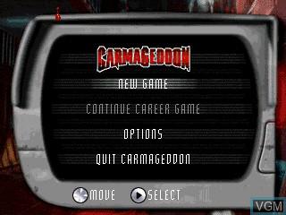 Title screen of the game Carmageddon on Tiger Gizmondo