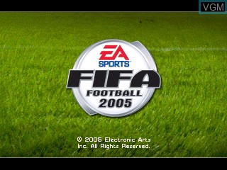 Title screen of the game FIFA Football 2005 on Tiger Gizmondo