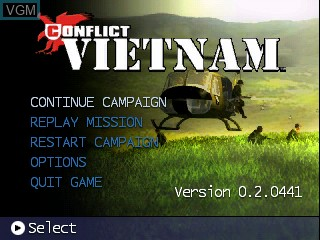 Title screen of the game Conflict - Vietnam on Tiger Gizmondo