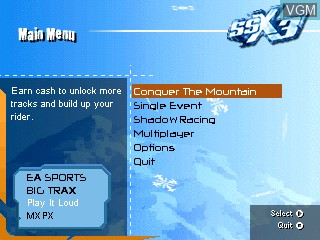 Menu screen of the game SSX 3 on Tiger Gizmondo