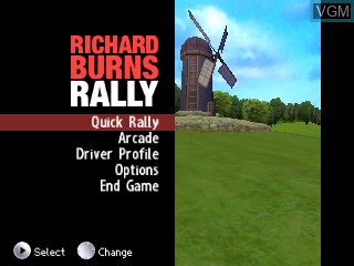 Menu screen of the game Richard Burns Rally on Tiger Gizmondo