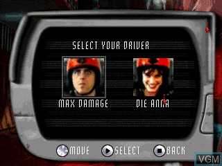 Menu screen of the game Carmageddon on Tiger Gizmondo