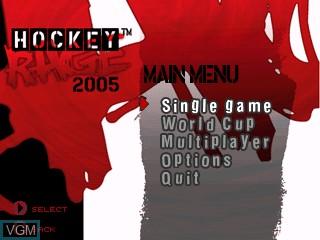 Menu screen of the game Hockey Rage 2005 on Tiger Gizmondo