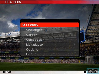 Menu screen of the game FIFA Football 2005 on Tiger Gizmondo
