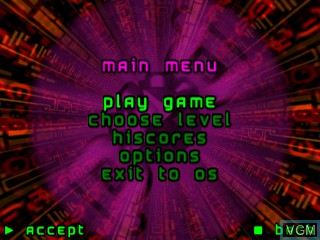 Menu screen of the game Point of Destruction on Tiger Gizmondo