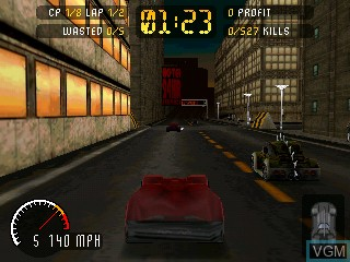 In-game screen of the game Carmageddon on Tiger Gizmondo