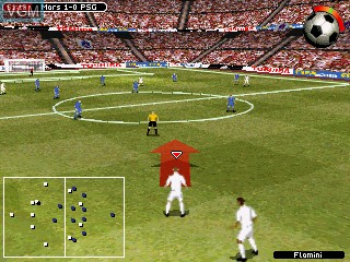 In-game screen of the game FIFA Football 2005 on Tiger Gizmondo