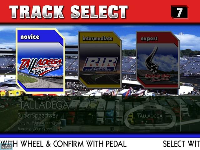 Menu screen of the game Nascar Racing on Sega Hikaru
