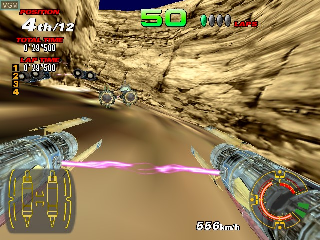 In-game screen of the game Star Wars Racer Arcade on Sega Hikaru