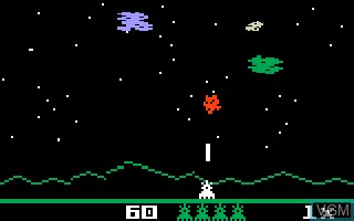 In-game screen of the game Astrosmash on Mattel Intellivision
