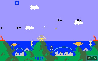 In-game screen of the game Atlantis on Mattel Intellivision
