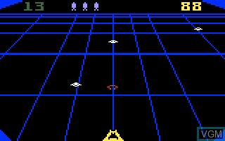In-game screen of the game BeamRider on Mattel Intellivision